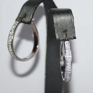 Beautiful silver and rhinestone hoop earrings